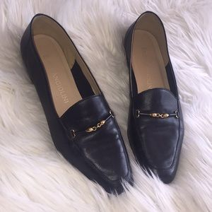 Enzo Angiolini Leather Loafers Sz 8 1/2 Navy Blue